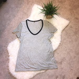 J. Crew Basic Tee with Striped Sleeves